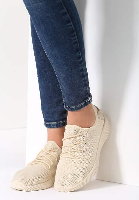 Beżowe Buty Sportowe Wan