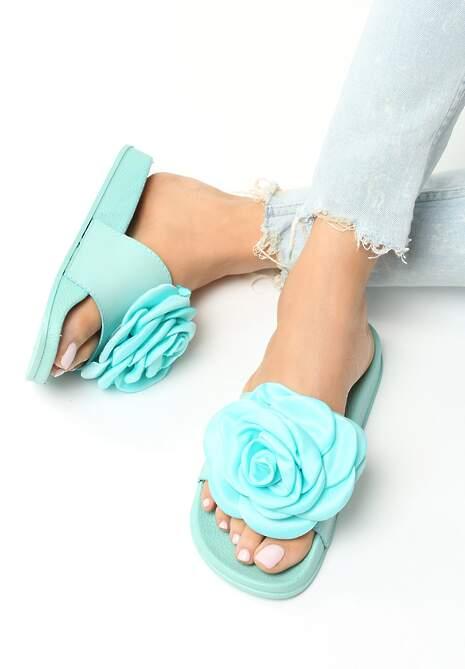 Miętowe Klapki Rose Princess