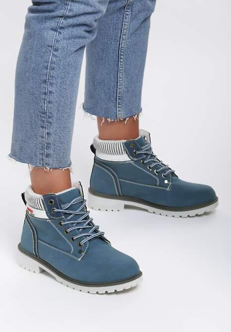 Granatowe Traperki Fashion Casual