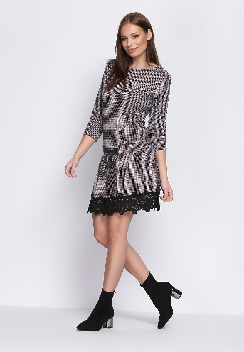 Szaro-Różowa Sukienka Folklore