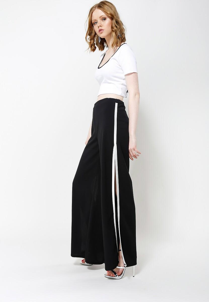 Czarno-Białe Spodnie Candy Cut