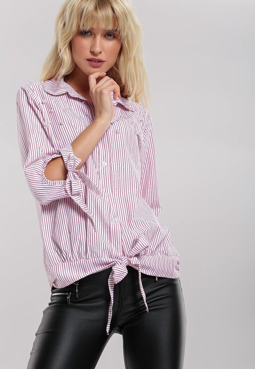 Czerwona Koszula Stripy Pearled
