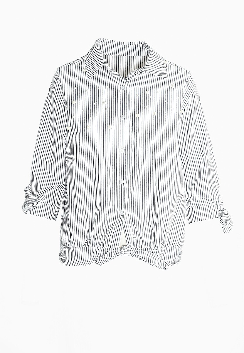 Czarna Koszula Stripy Pearled