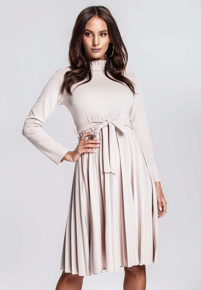 Beżowa Sukienka For You