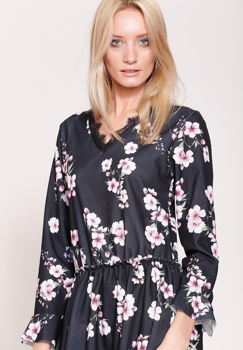 f908202181 Granatowo-Różowa Sukienka Sweety Flower w Renee.pl