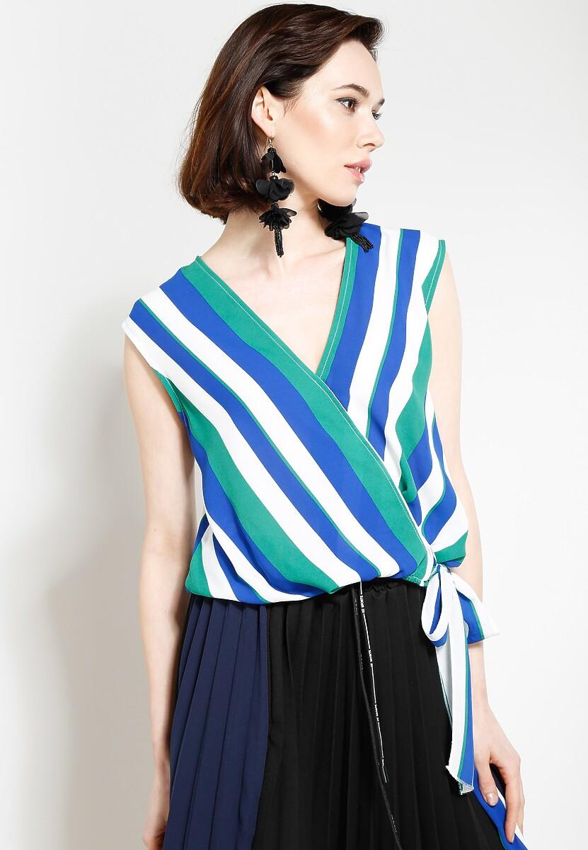 Niebiesko-Zielona Bluzka Perfect Stripes