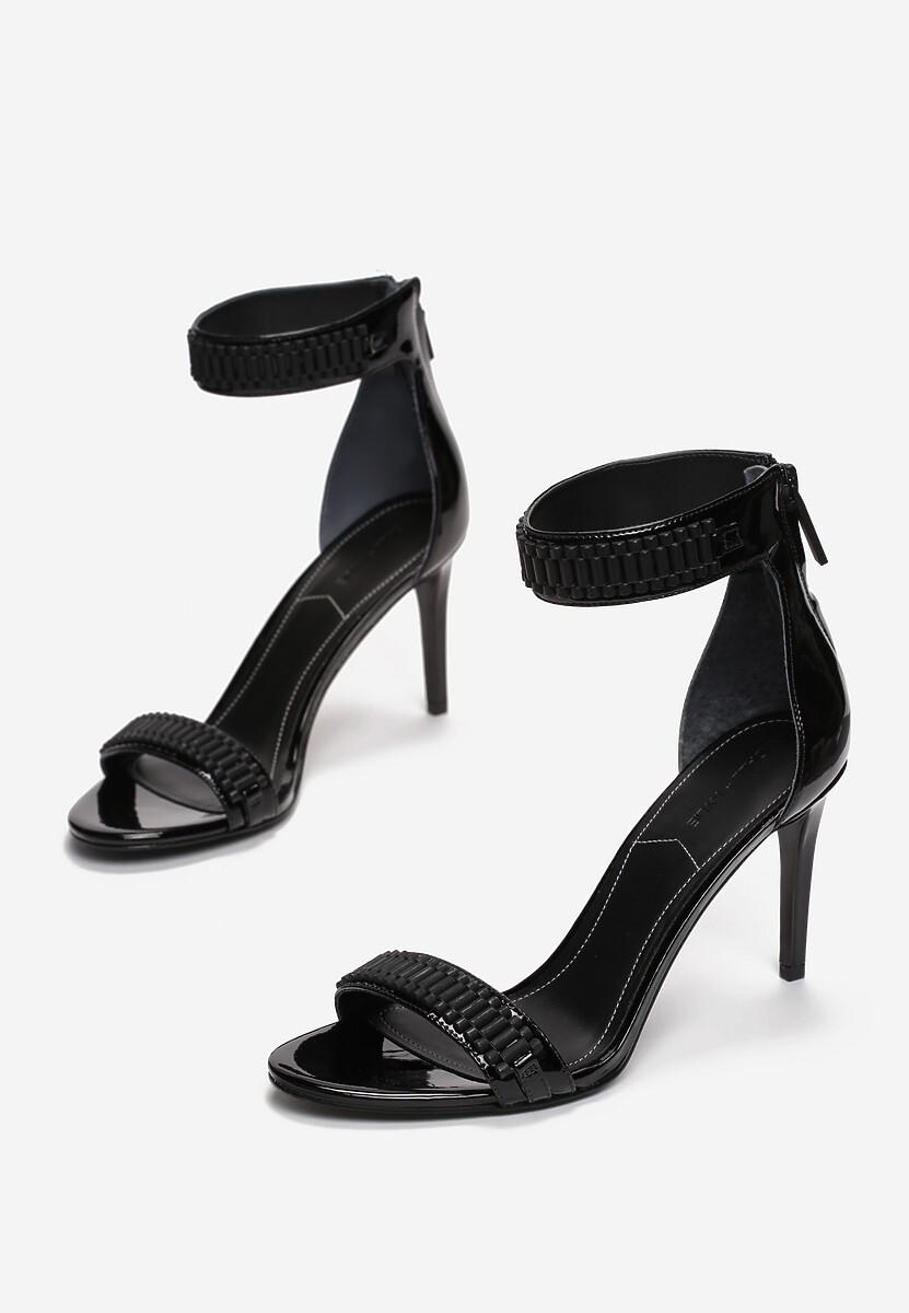 Czarne Sandały Kendall + Kylie Shiny Leather