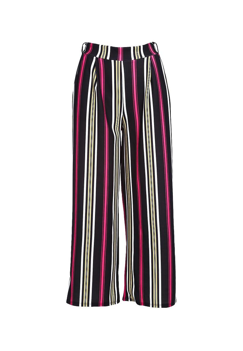 Czarno-Różowe Spodnie Be Satisfied