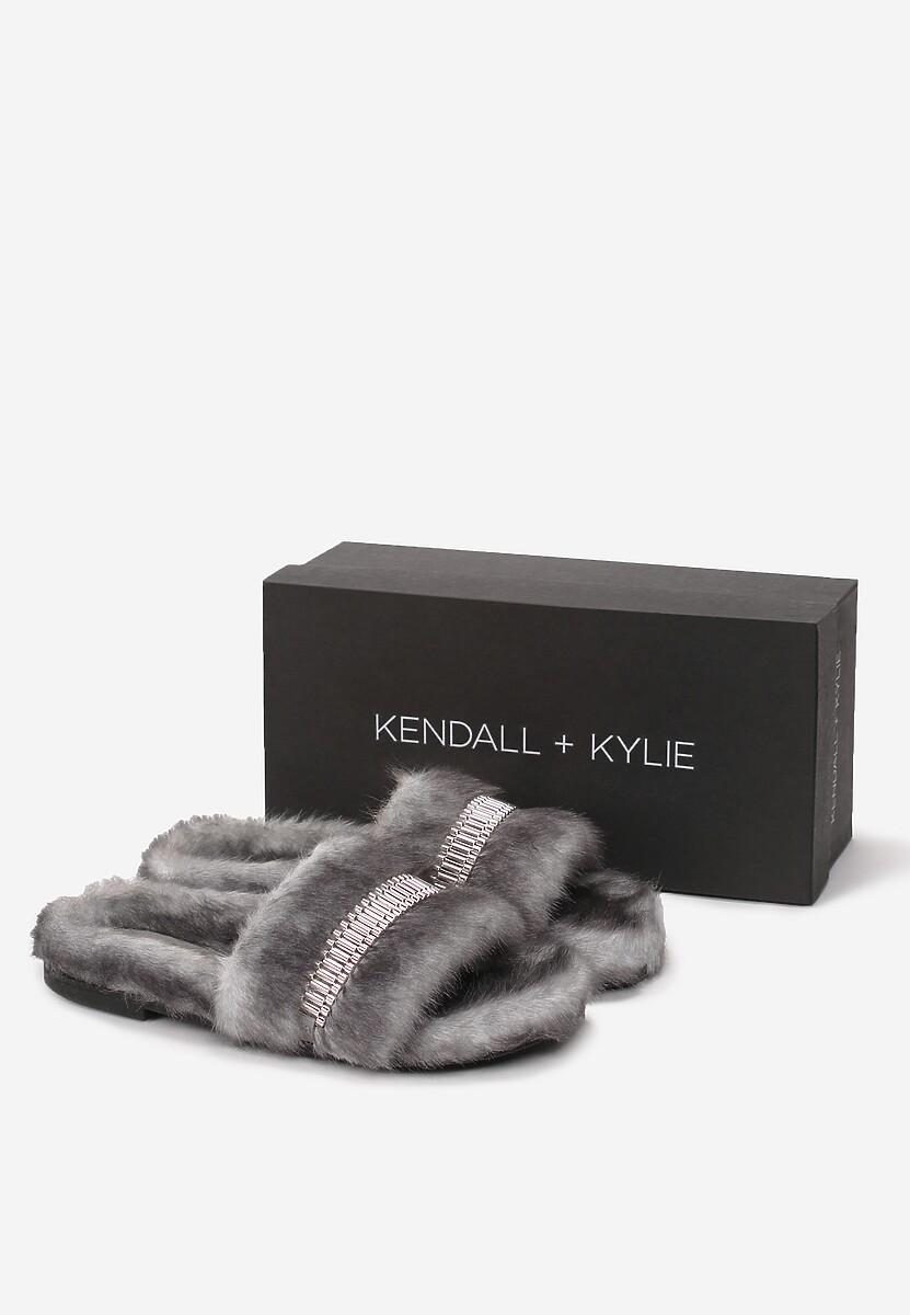 Szare Klapki Kendall + Kylie Fluffy