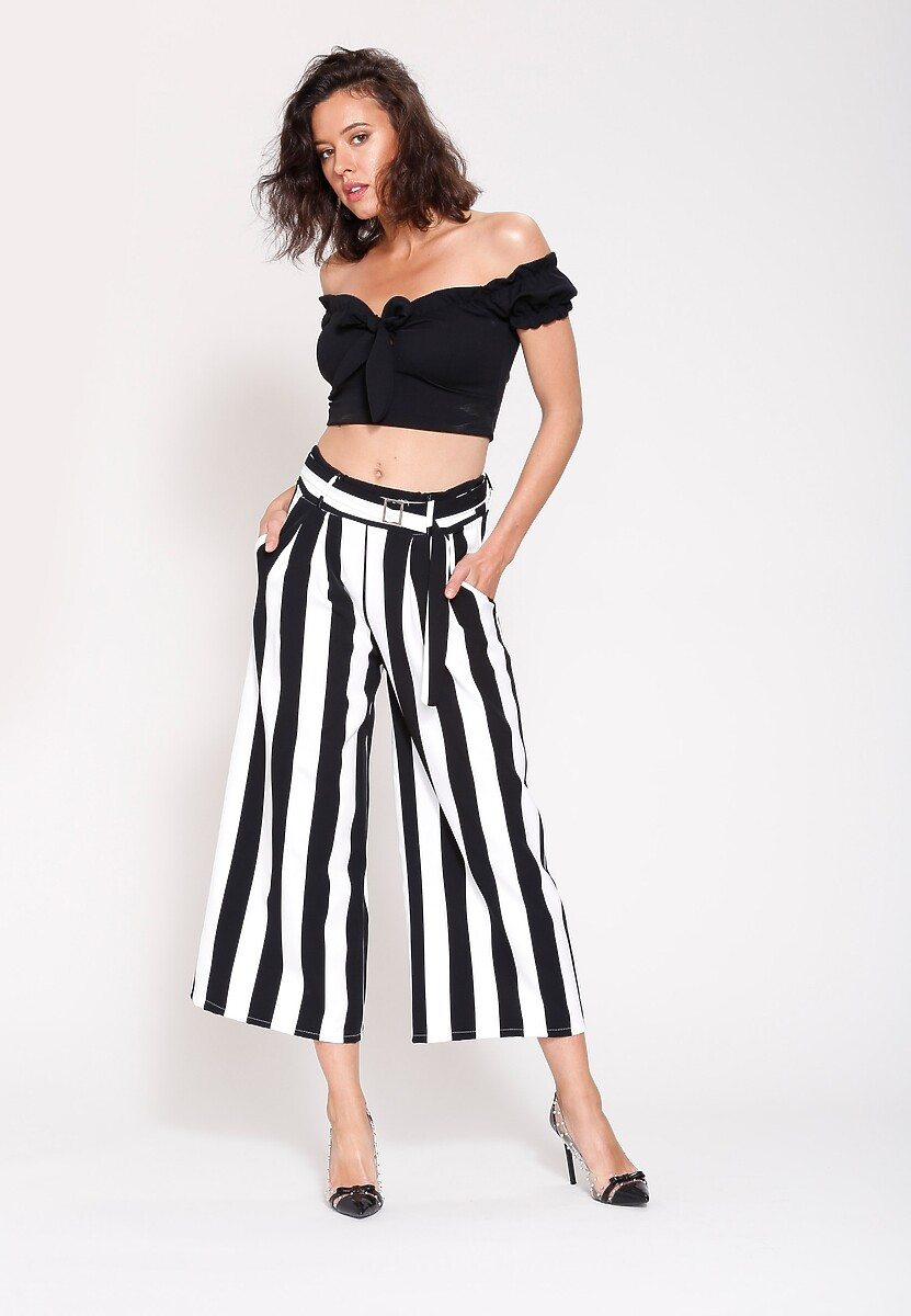 Czarne Spodnie Linear Stripes