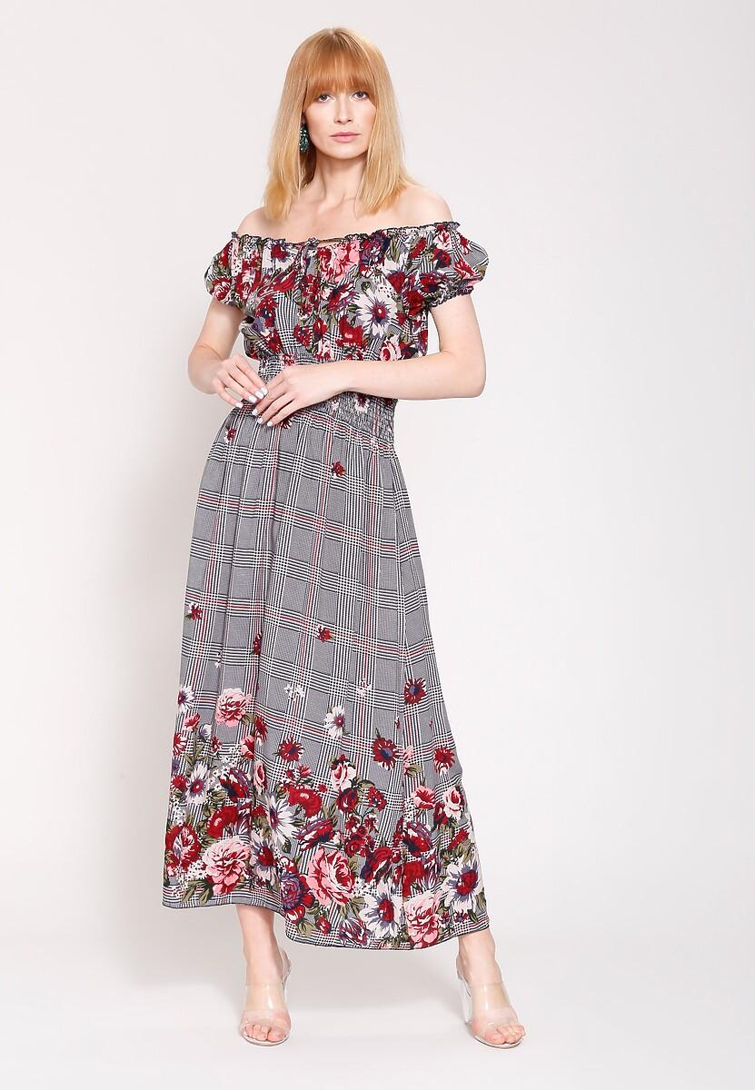 Granatowo Czerwona Sukienka Boho Flower
