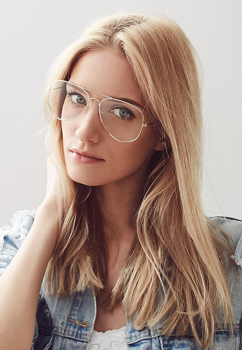 Złote Okulary Zerówki Pilot Girl