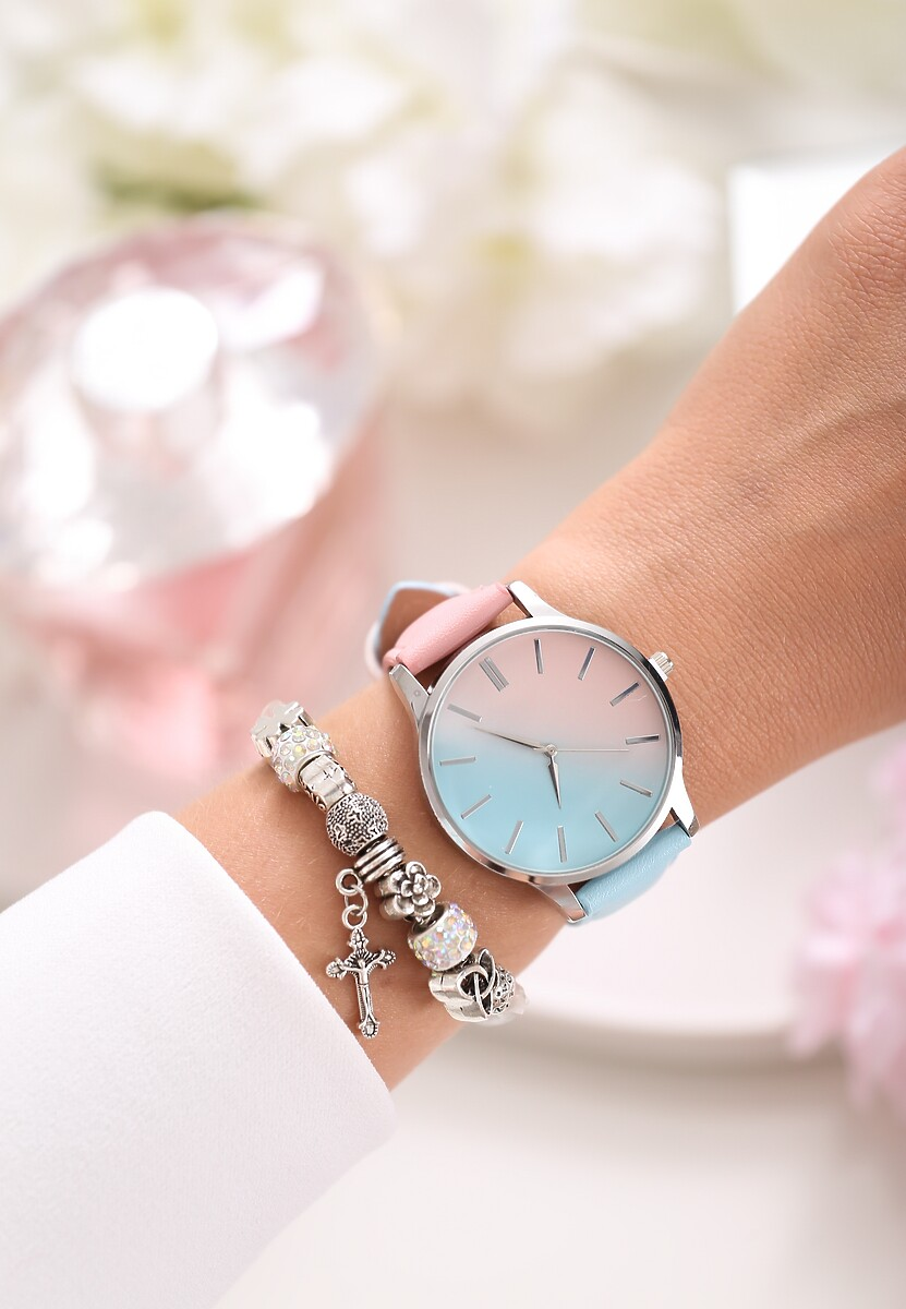 Różowo-Niebieski Zegarek Don't Run Away
