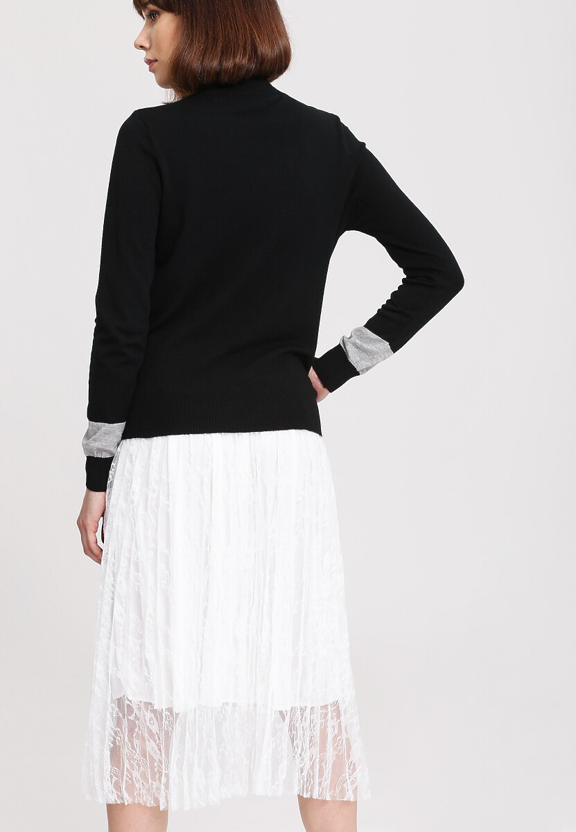 Czarny Sweter High Pearl Collar