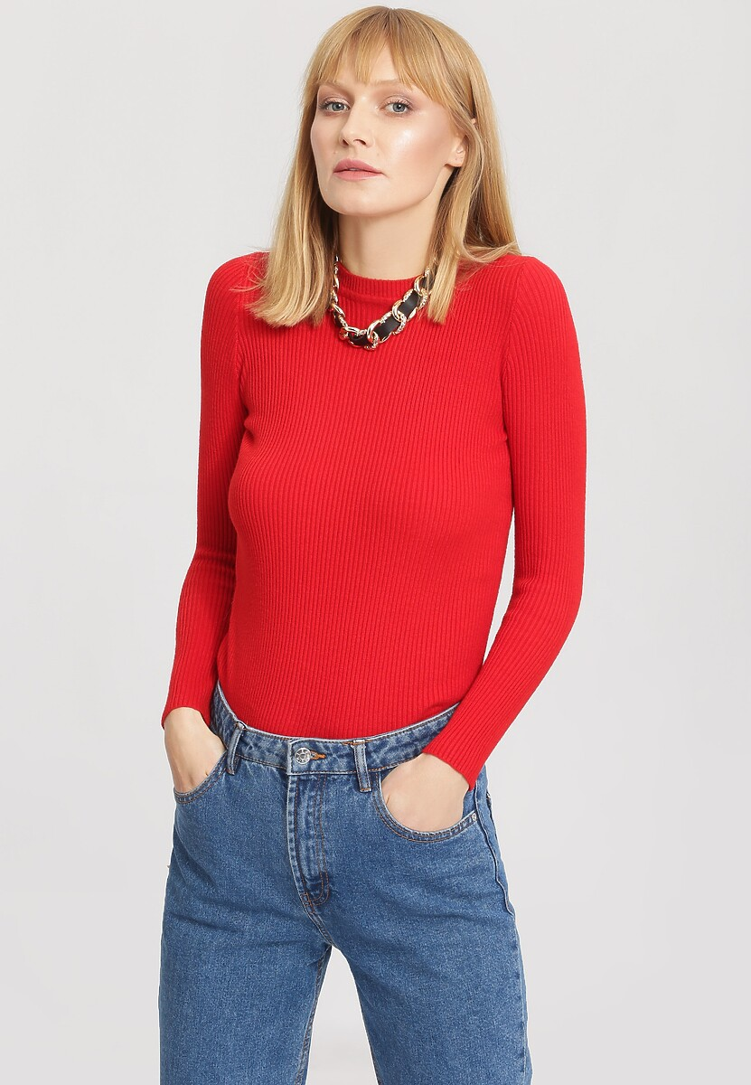 Czerwony Sweter Burnished