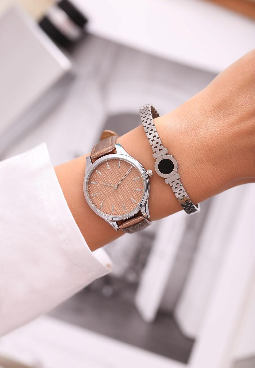 Ciemnobeżowy Zegarek From Day To Day