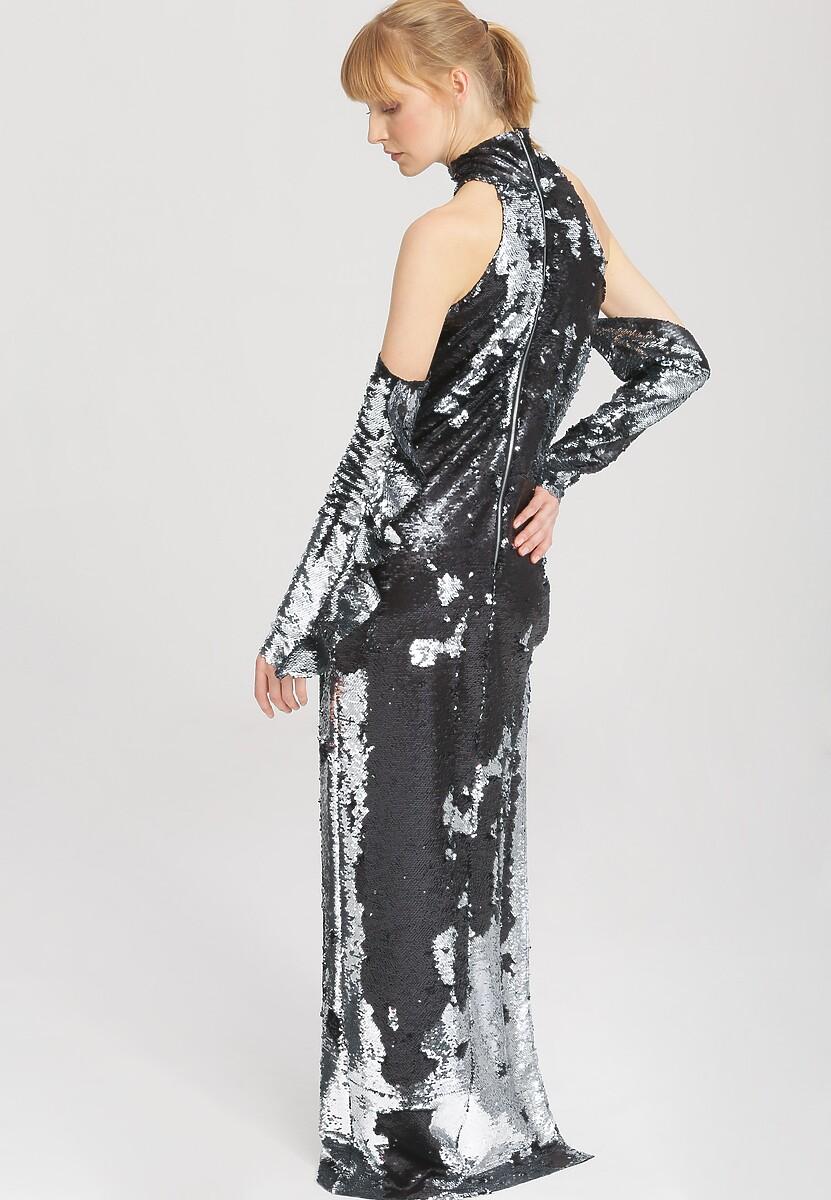 Czarno-Srebrna Sukienka Elodie - Limited Edition