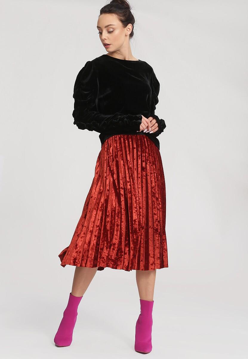 Czerwona Spódnica Velor Crushed