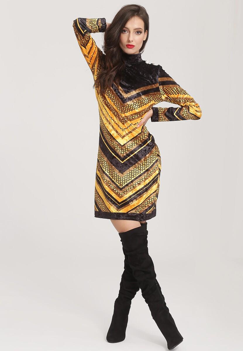 Czarno-Żółta Sukienka Unsophisticated
