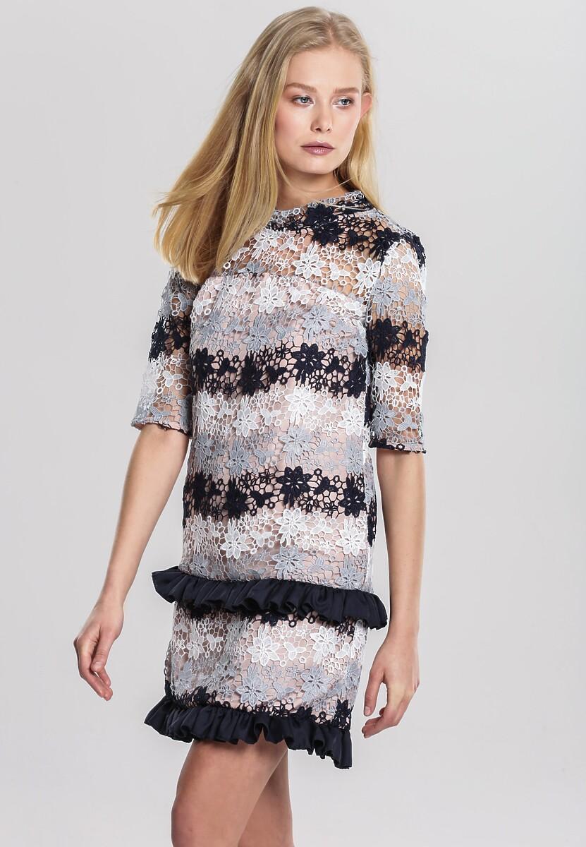 Biało-Granatowa Sukienka In Harmony With Nature