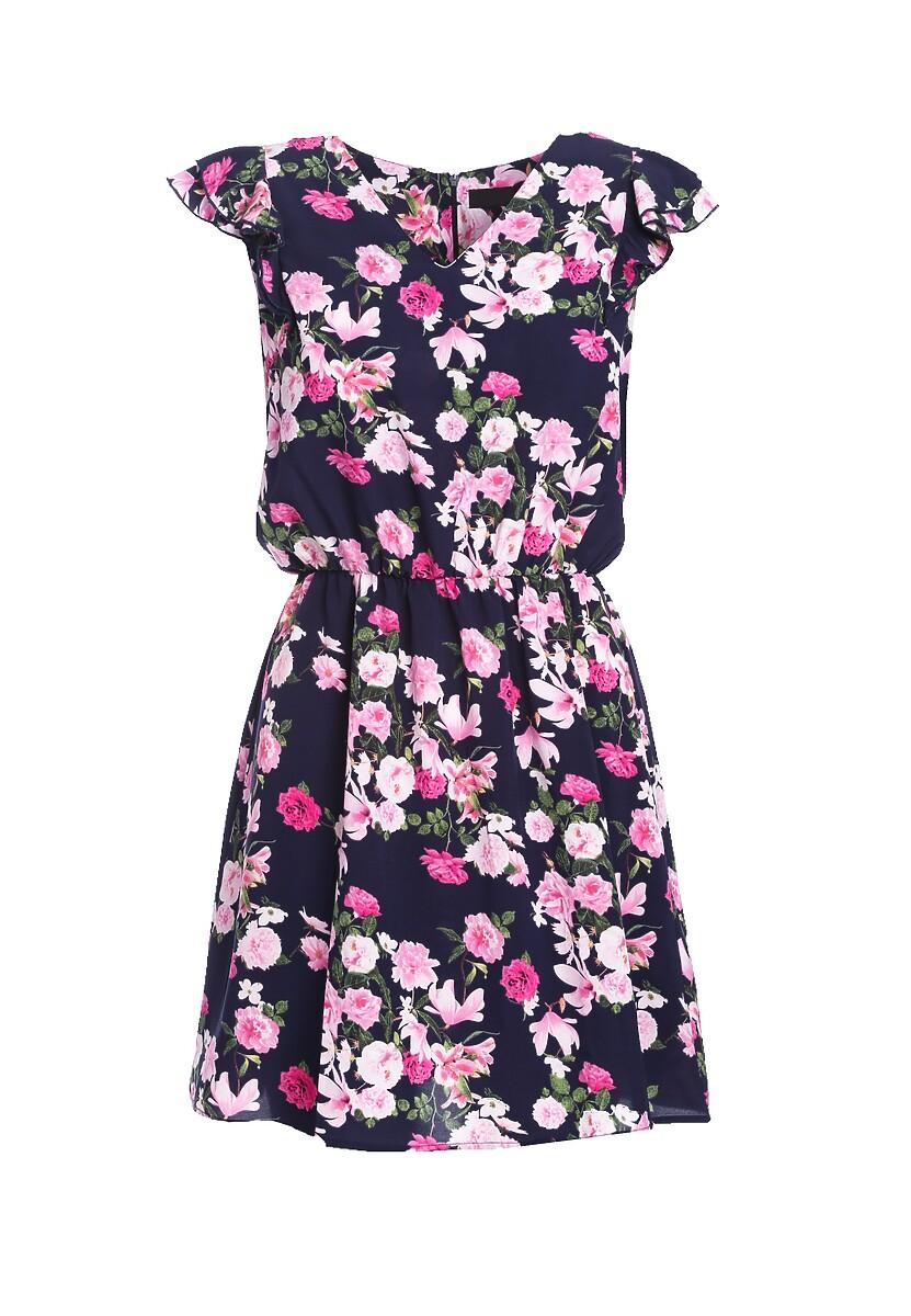 Granatowo-Różowa Sukienka Posses