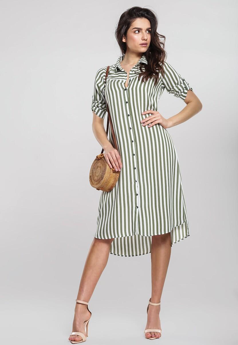 Biało-Zielona Sukienka Whisht