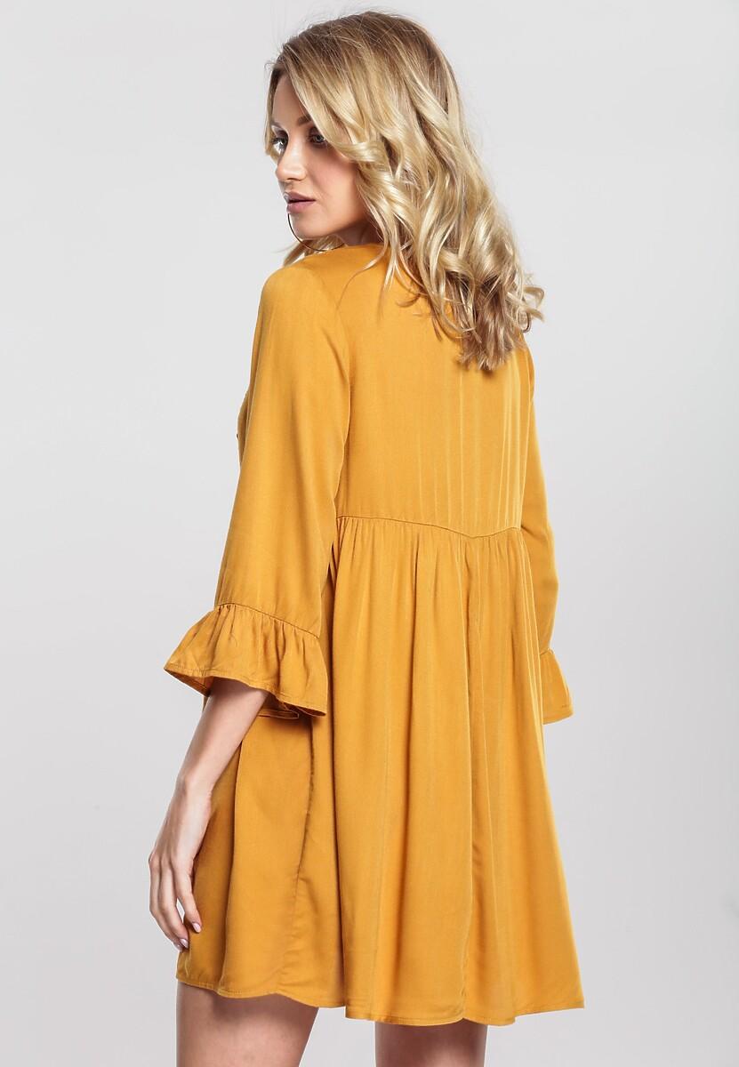 Musztardowa Sukienka Warbling