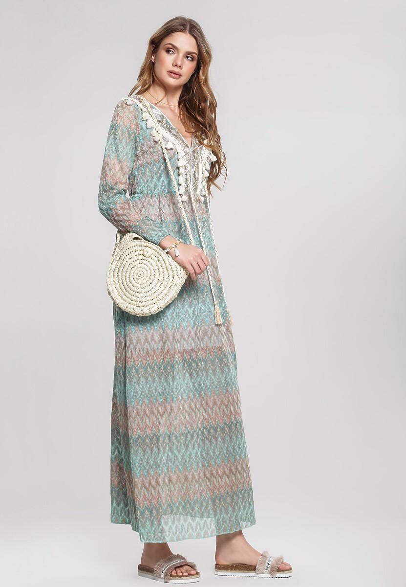 Miętowa Sukienka Decoupage
