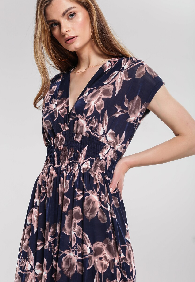 Granatowo-Beżowa Sukienka Put At Ease