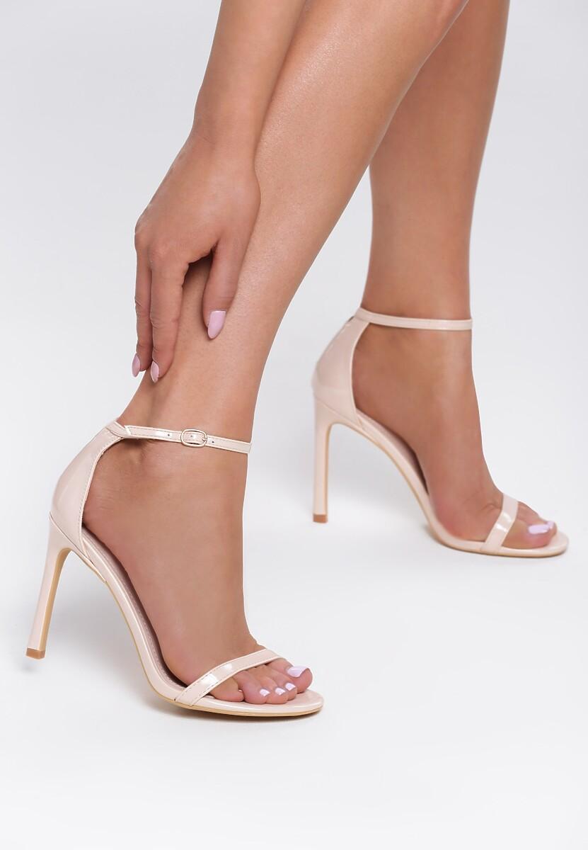 Beżowe Lakierowane Sandały Snaffle