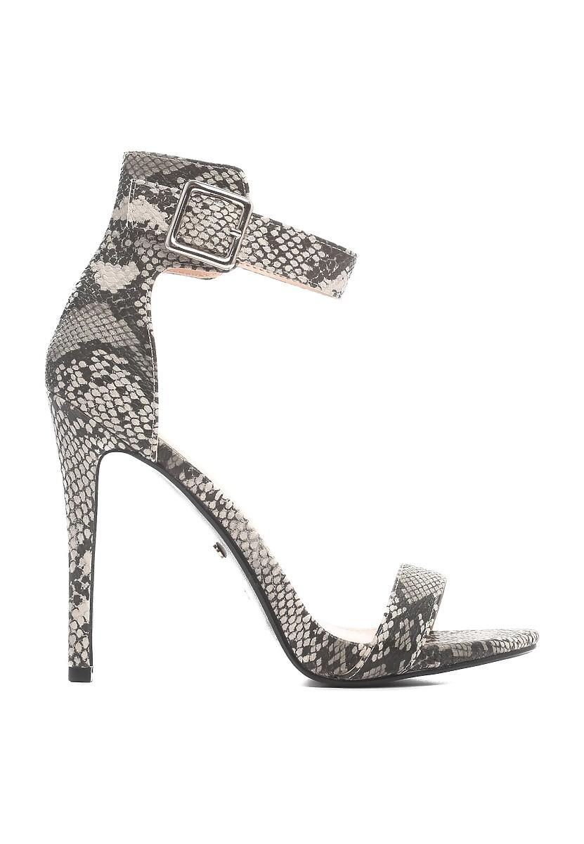 Brązowo-Wężowe Sandały Else