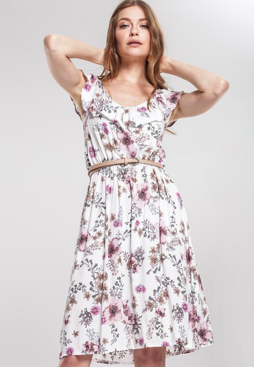 Biała Sukienka Felt