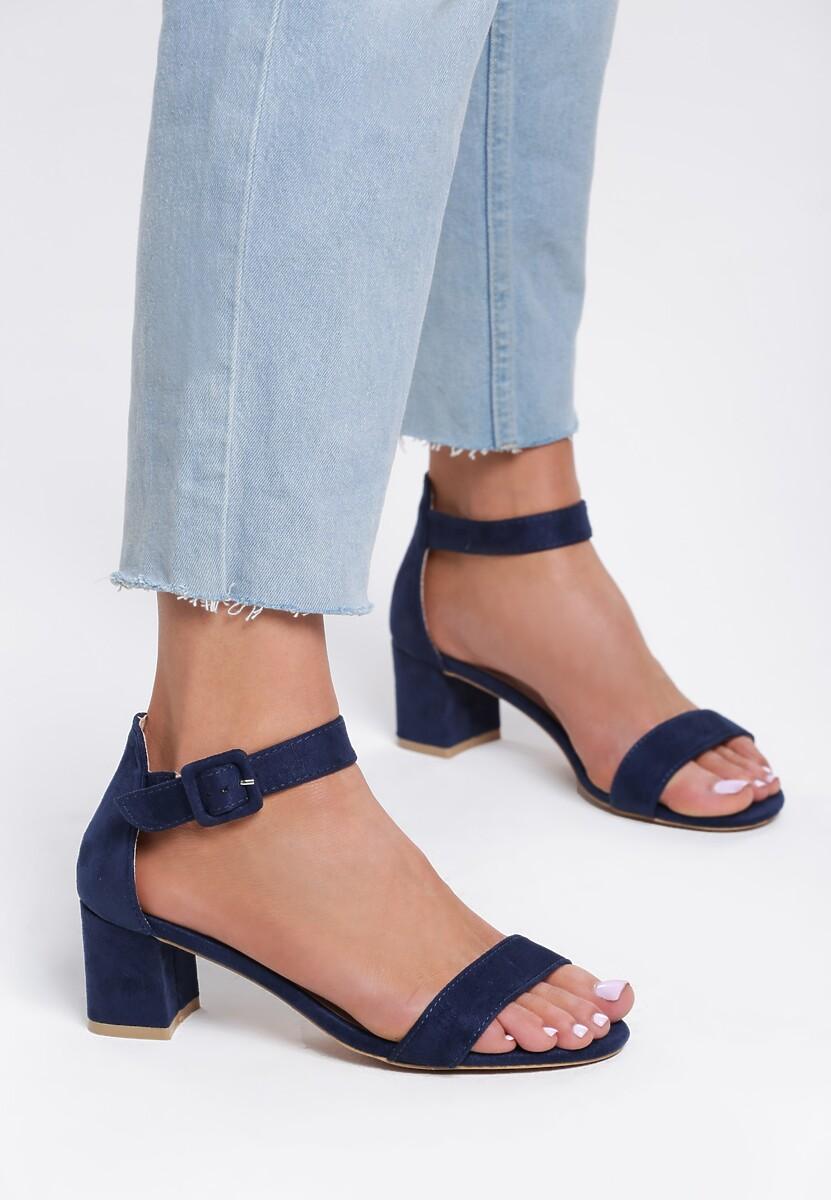 Granatowe Sandały Pep