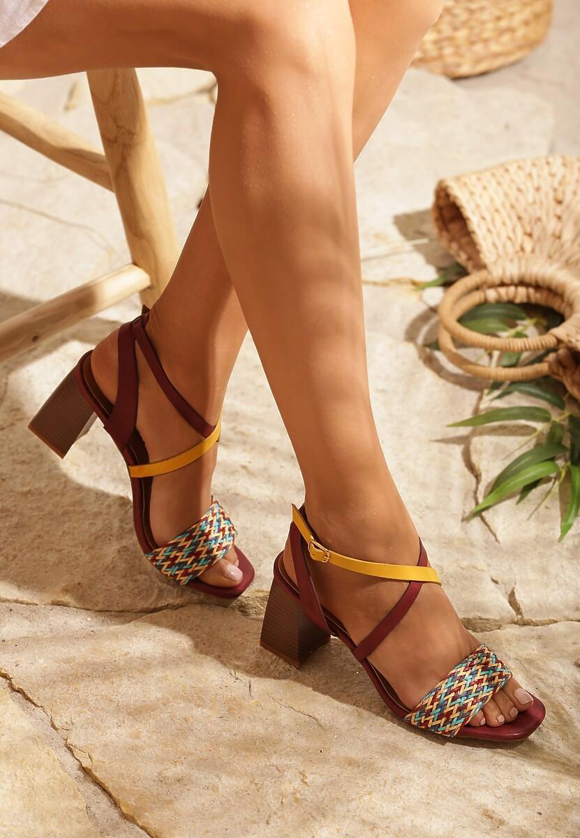 Bordowe Sandały Dread