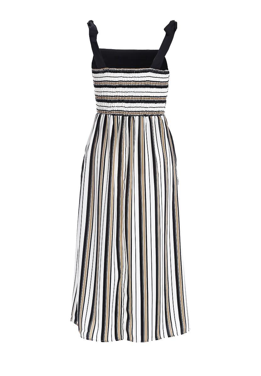 Biało-Beżowa Sukienka Grimace
