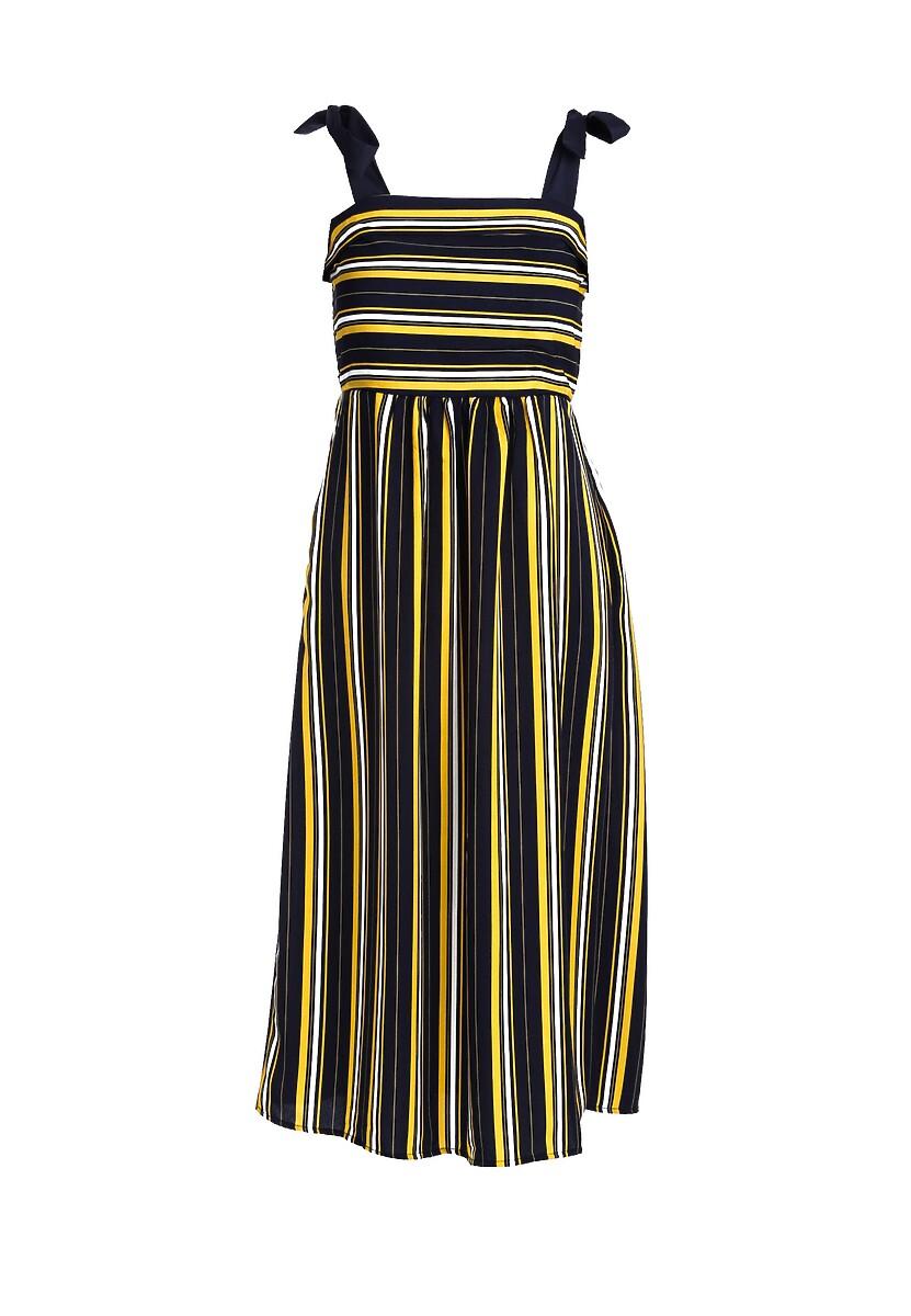 Granatowo-Żółta Sukienka Grimace