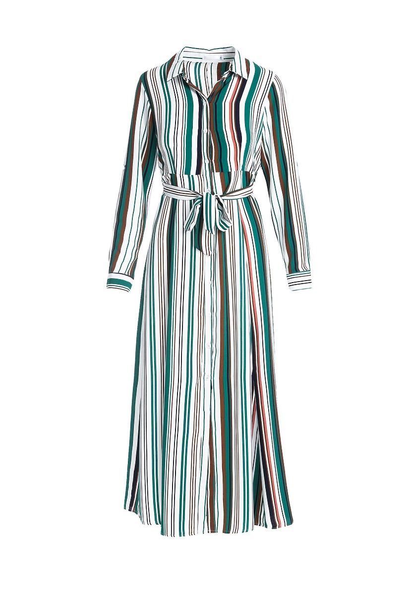 Biało-Zielona Sukienka Cheek
