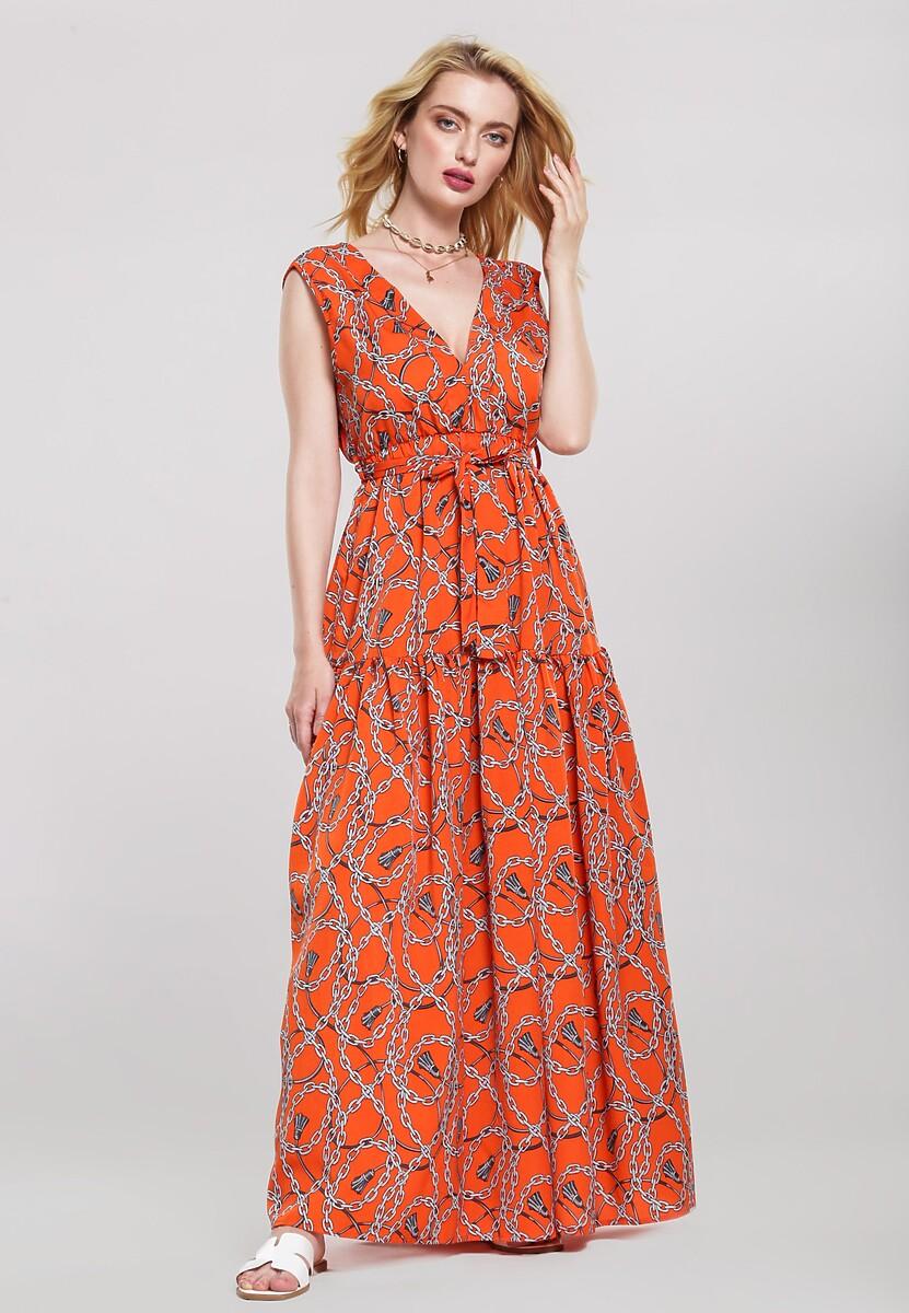 Pomarańczowa Sukienka Distemper