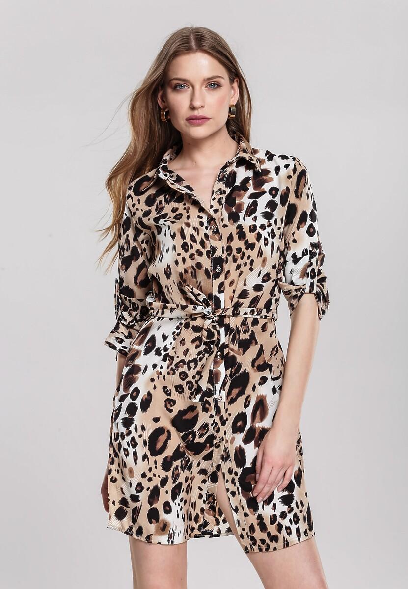 Beżowa Sukienka Ruffle