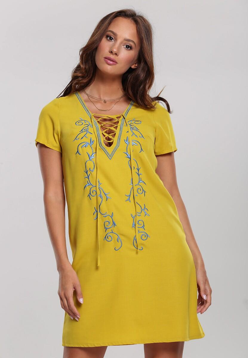 Żółta Sukienka Plant Vine