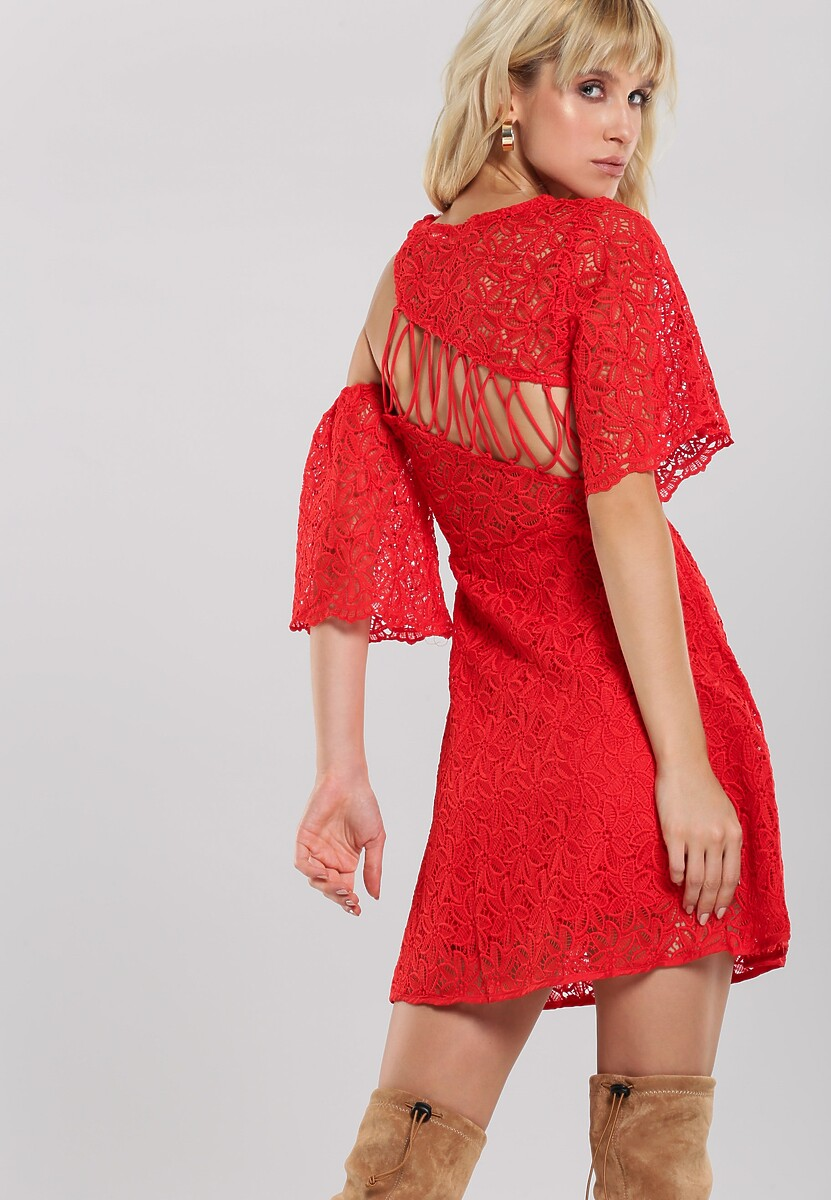 Czerwona Sukienka Amber Coating