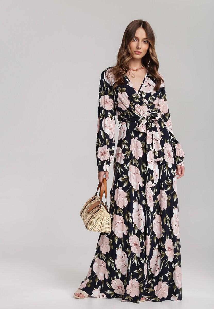 Granatowo-Różowa Sukienka Deferment