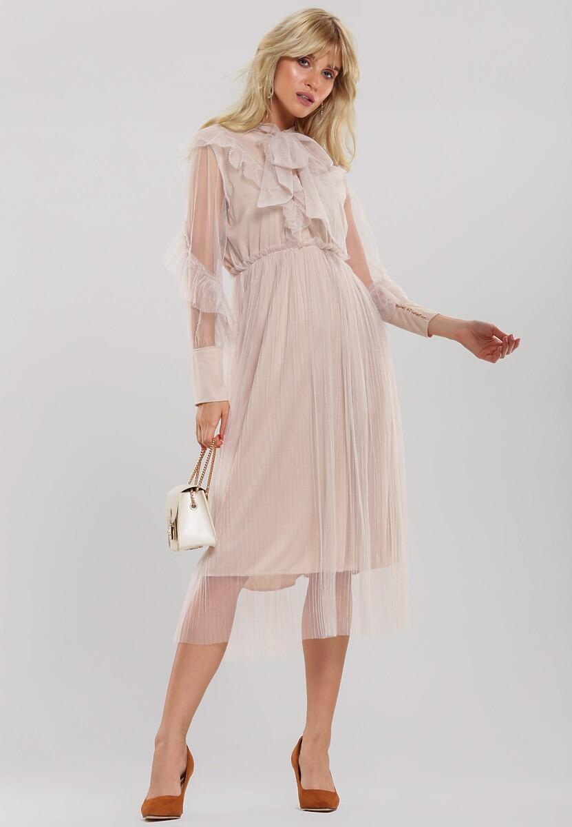 Jasnobeżowa Sukienka Aubrie