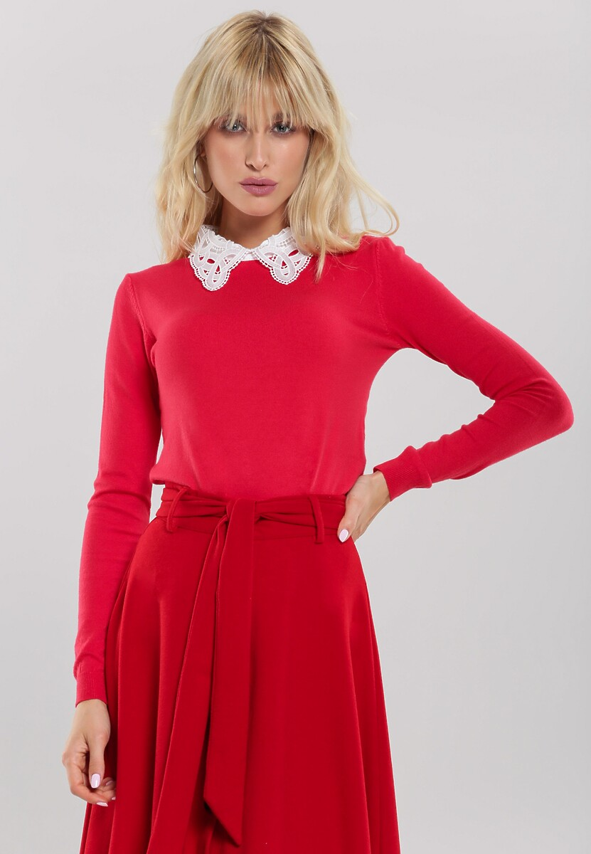 Czerwony Sweter Valley Girl