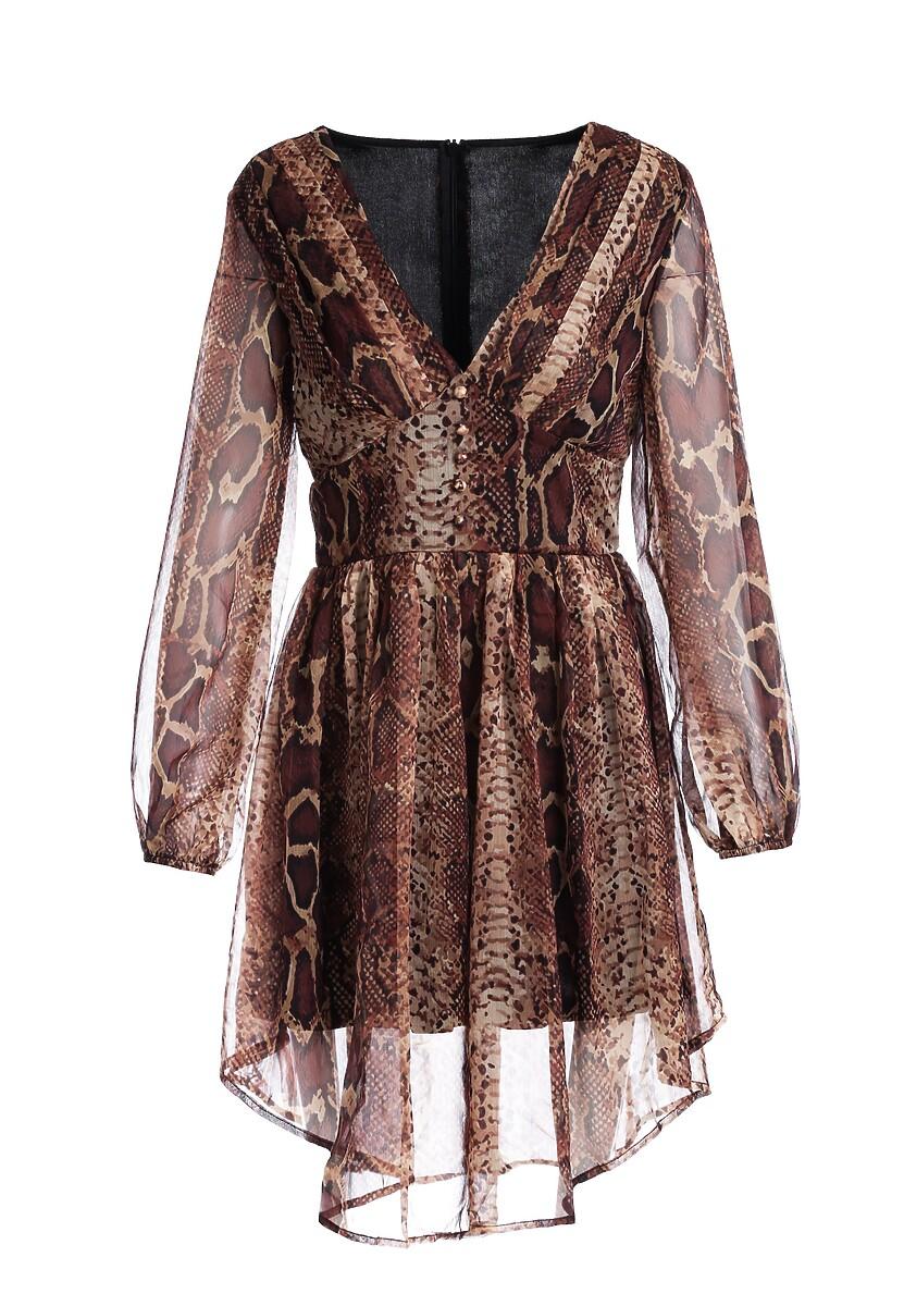 Brązowa Sukienka Whereat