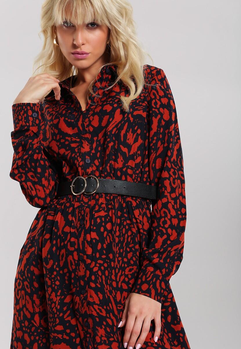 Granatowo-Czerwona Sukienka Levant