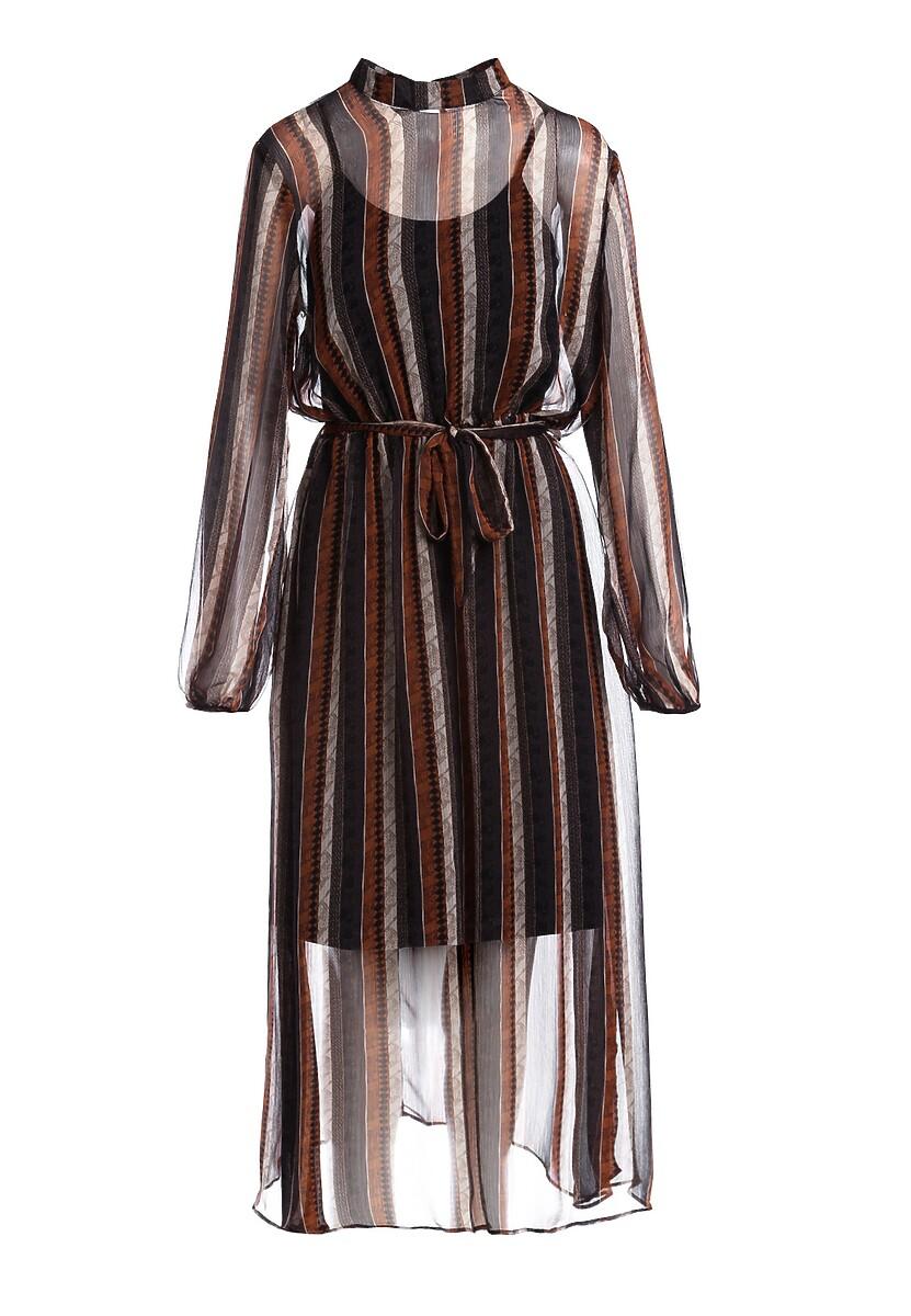 Brązowa Sukienka Cold Flame