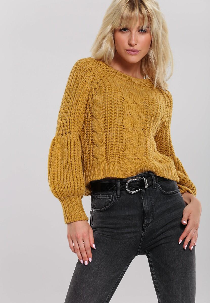 Musztardowy Sweter Quadrant