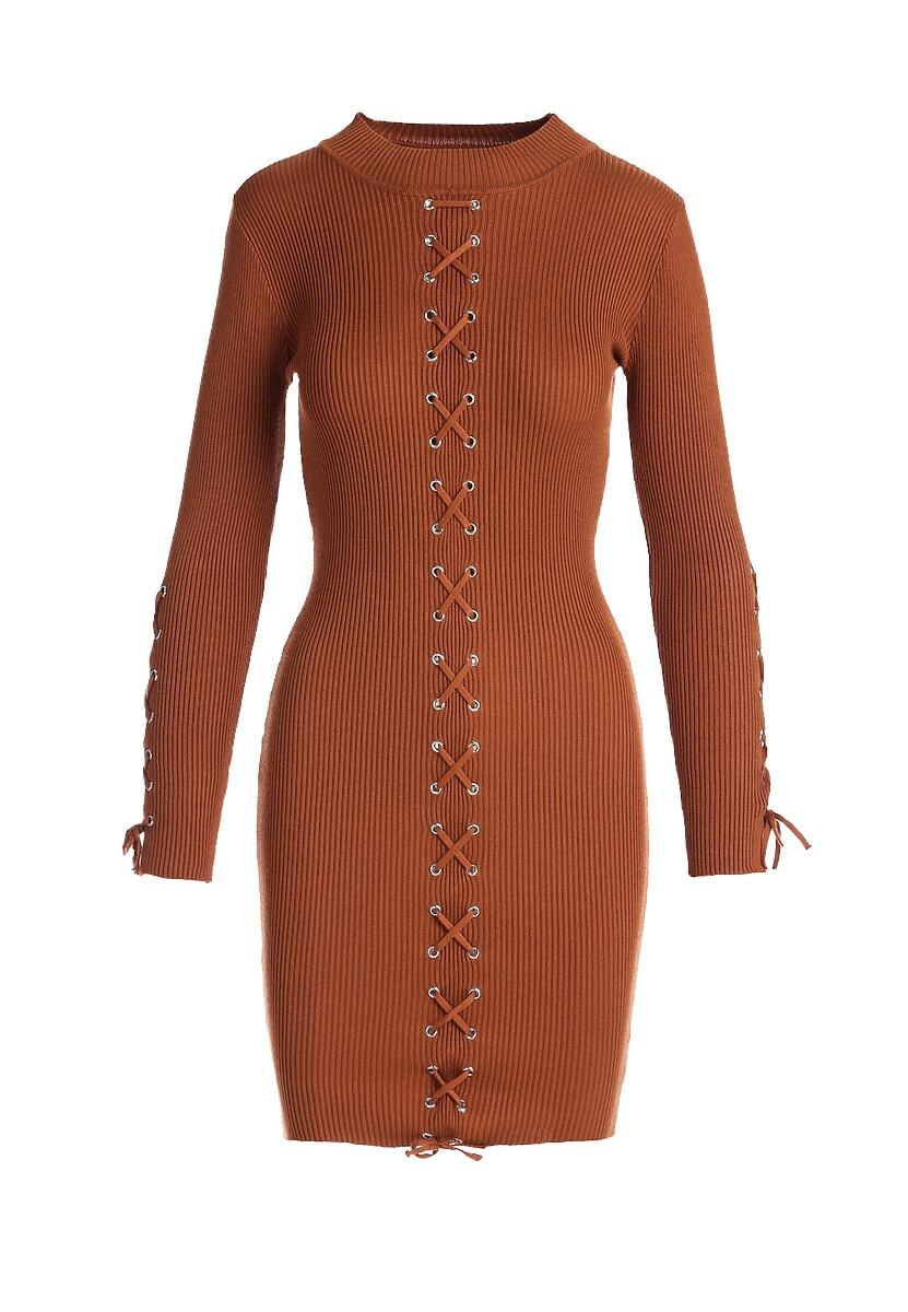 Brązowa Sukienka Londonderry