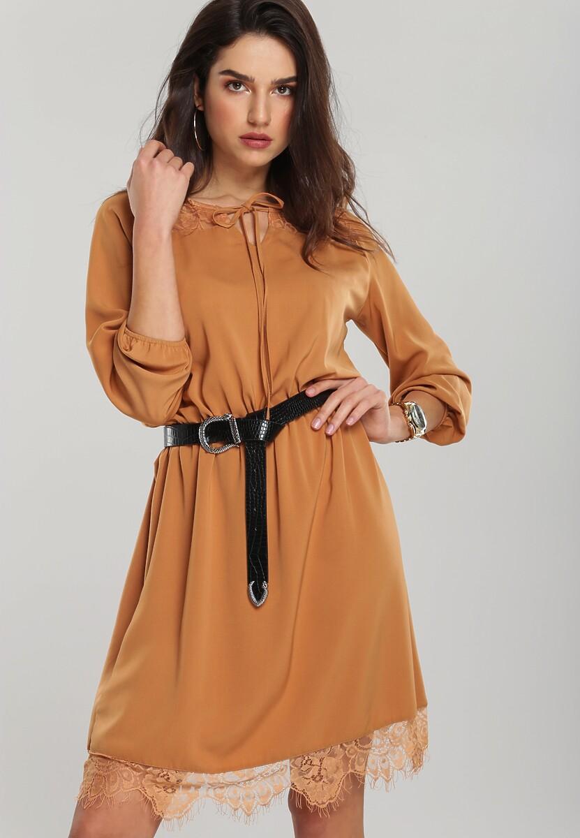 Beżowa Sukienka Floreat